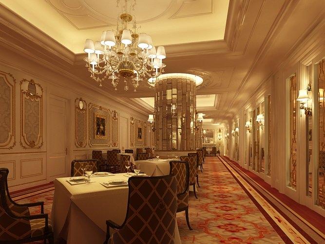 Photorealistic restaurant interior scene 3d model max for Dining room 3d max interior scenes