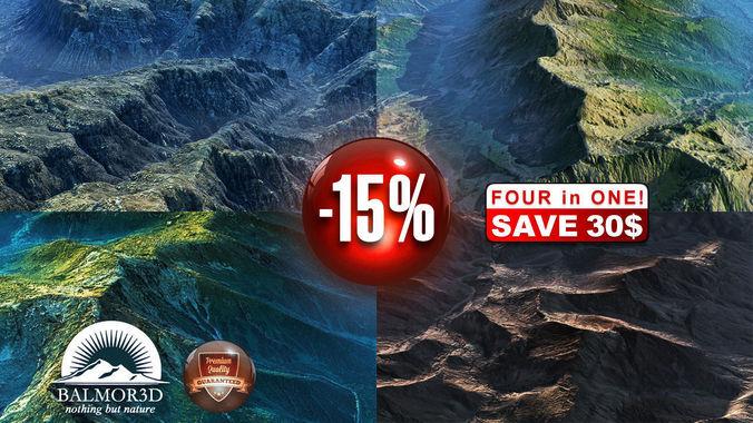 4 High Quality Mountains Landscapes Vol 43D model