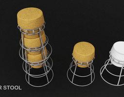 Stockable Cork Barstool 3D