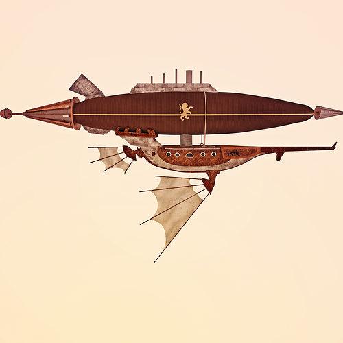 air ship steampunk 3d model c4d 1