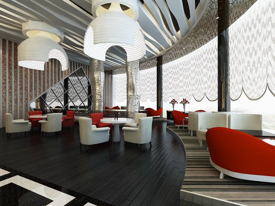 Elegant restaurant interior scene d model max cgtrader