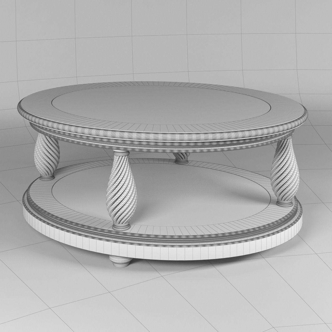 classic oval coffee table glass top 3d model max obj fbx mtl