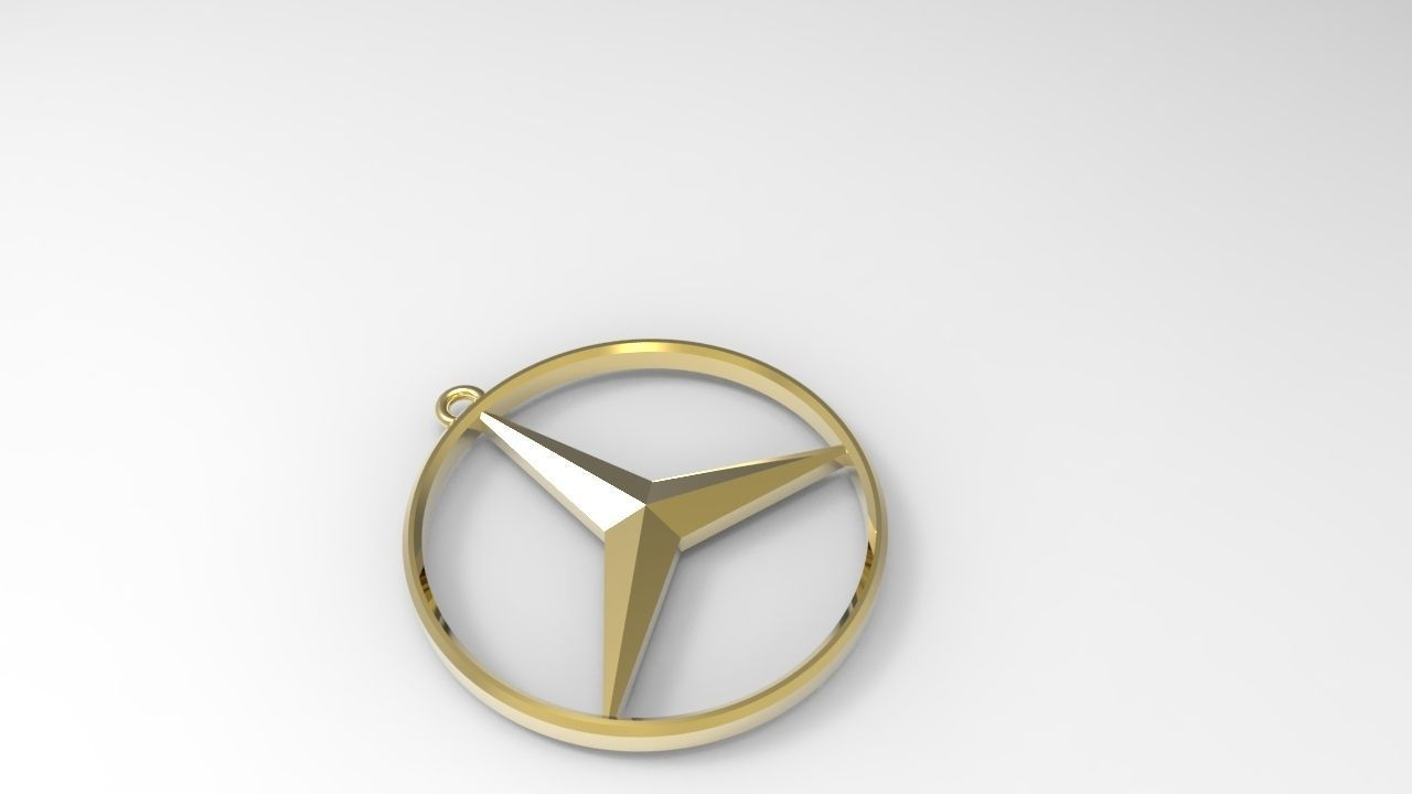 Mercedes benz keychain necklace 3d model 3d printable 3dm for Mercedes benz pendant