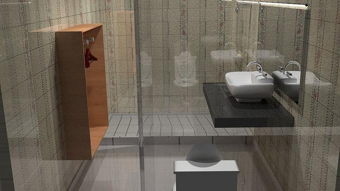Bathroom Model 3D Bathroom Model  Cgtrader