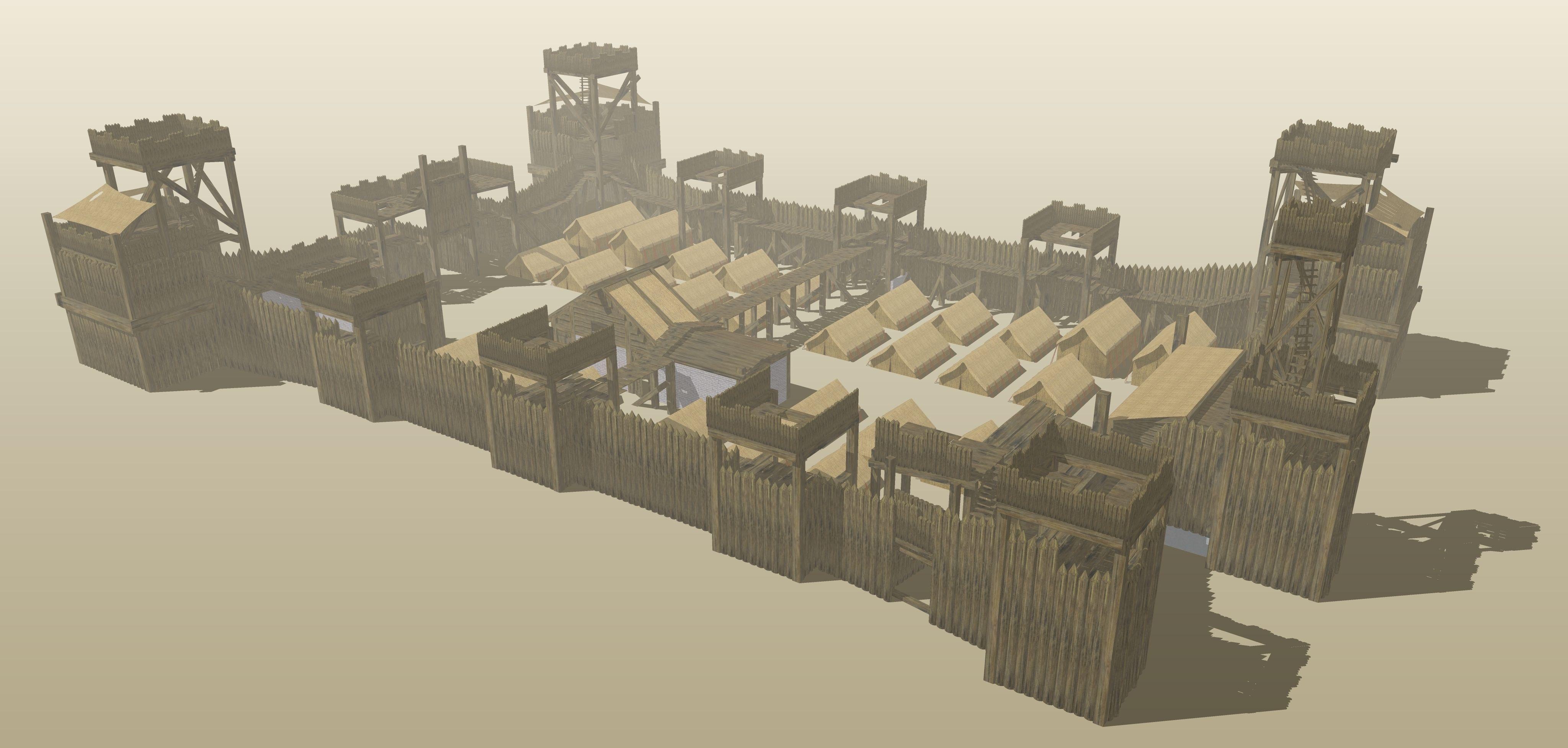 Roman Fort 3d Model Skp Cgtrader Com