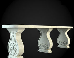 garden 3D model Bench