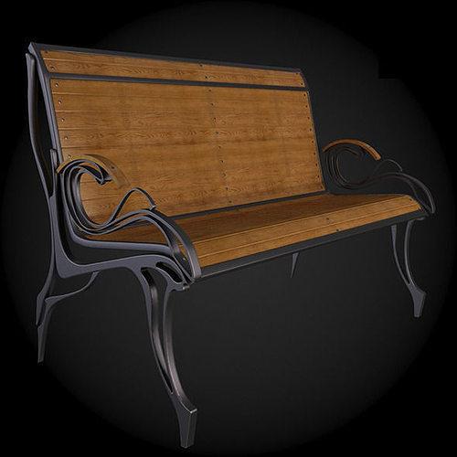 bench 3d model max obj fbx 1