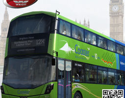 wrightbus streetdeck coaster green livery 3d asset rigged low-poly
