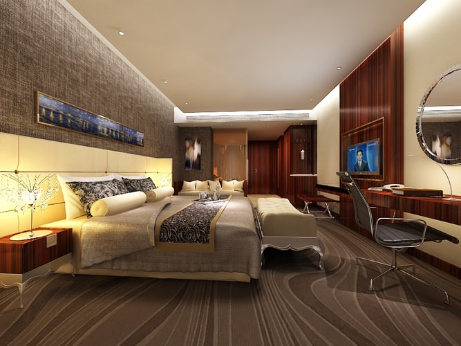 Very luxury bedroom 3d model max cgtrader com - Hotel Bedroom B2 32 3d Model Max