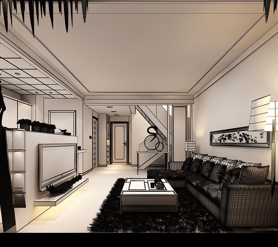 Living Room Kitchen Yy03 3d Model Max