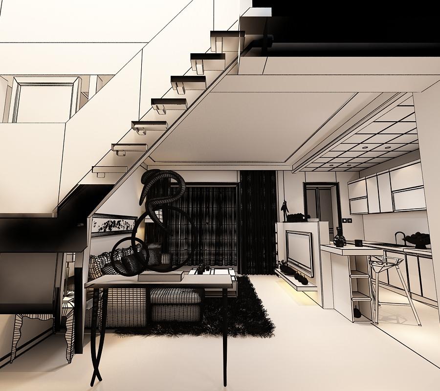 Living room kitchen yy03 3d model max for Kitchen room model