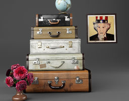 3d set of old suitcases