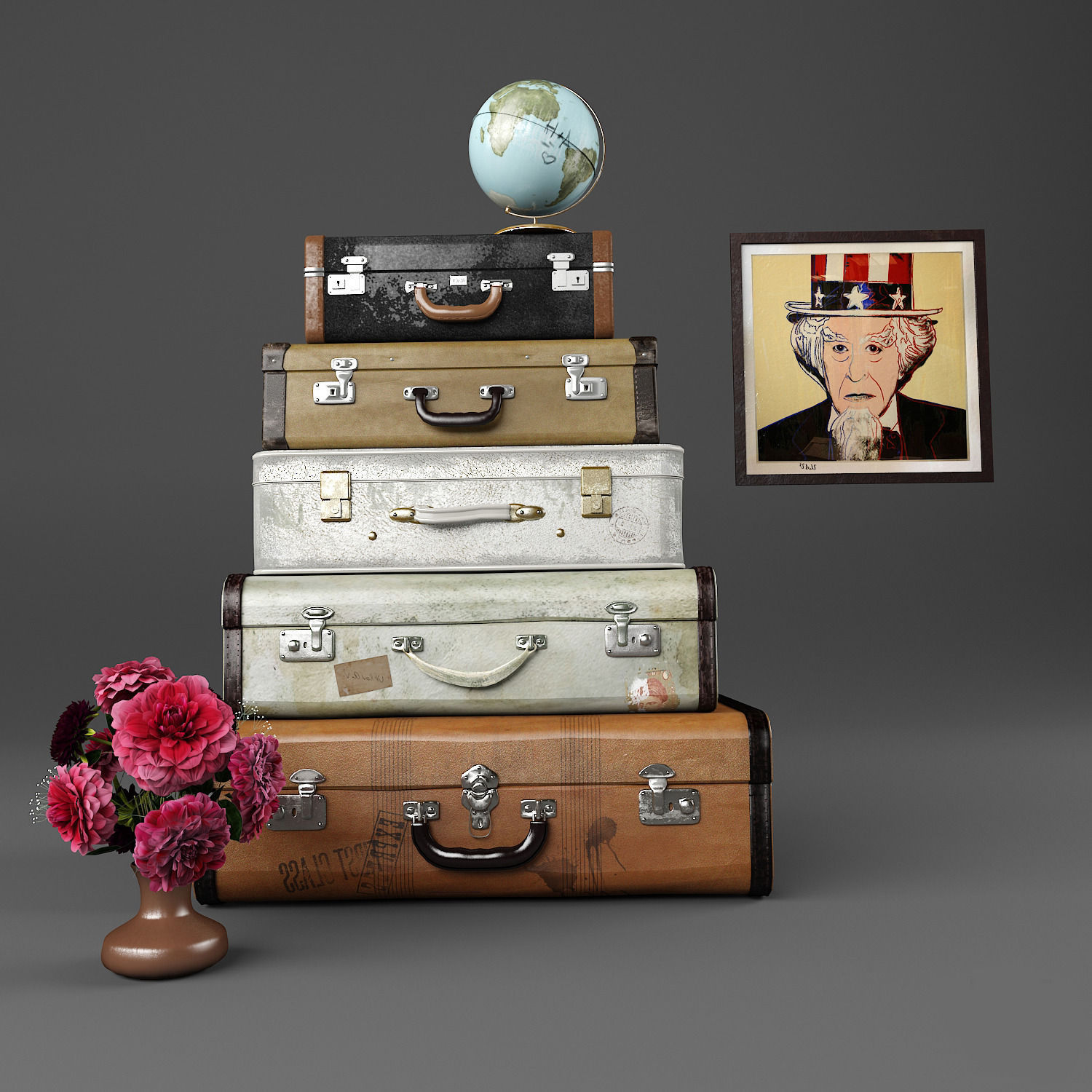 set of old suitcases