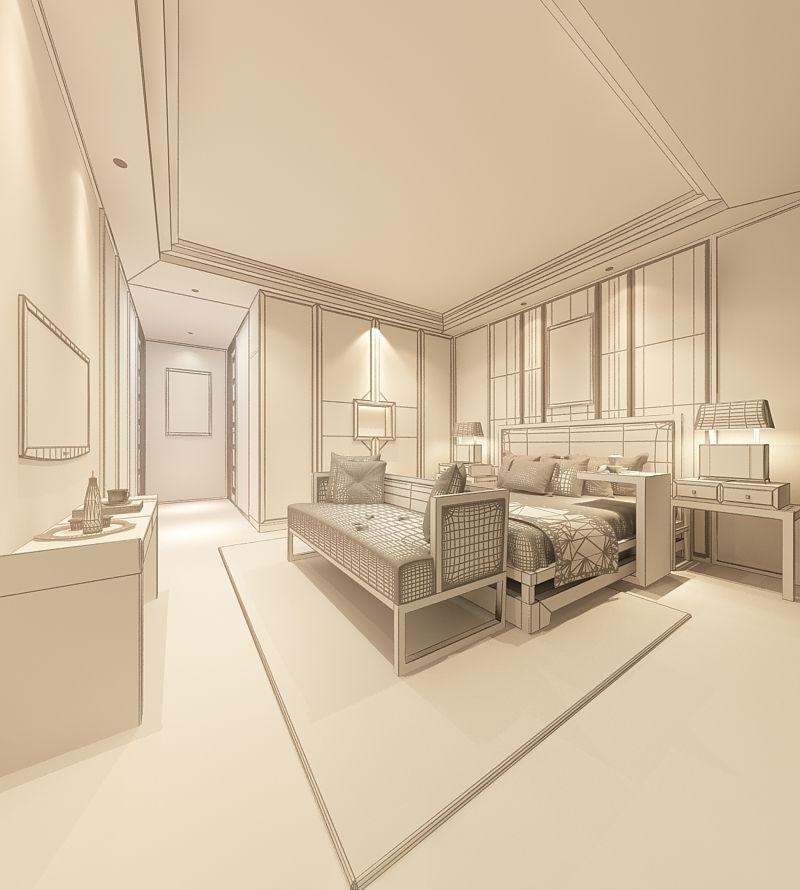 Realistic Hotel Room Design 012 3d Model Max