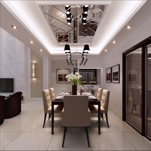 Realistic dining room design 054 3d model max for Dining room 3d max model