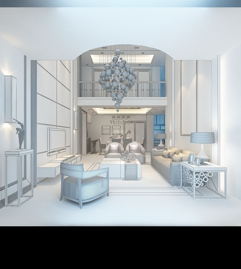 Realistic Dining Room Design 054 3d Model Max