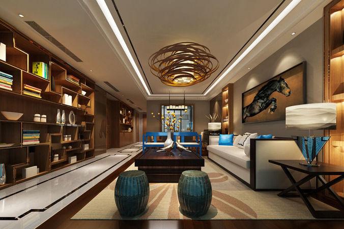 Realistic living room design 024 3d model max for Realistic living room ideas