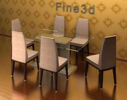 Dining table & chairs 09-050-0201 3D Model