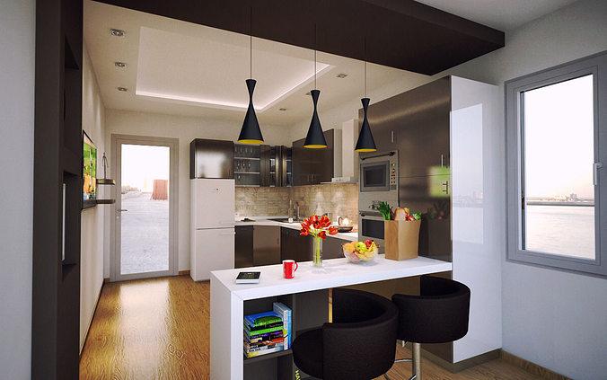 Charming ... Modern Kitchen 3d Model C4d 2 ...