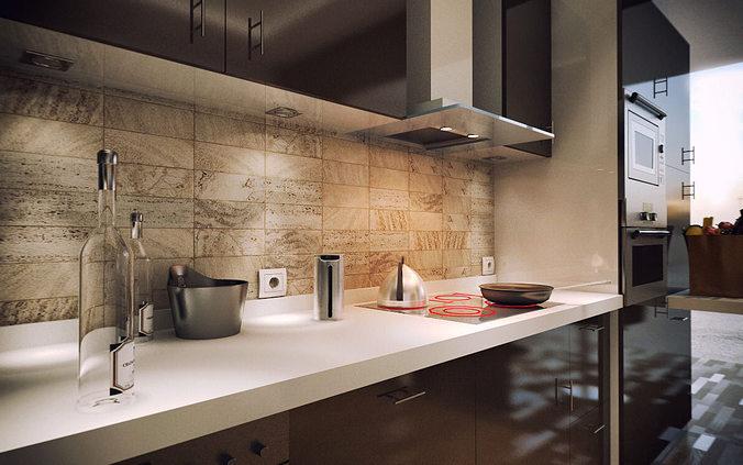 modern kitchen 3d model c4d 3