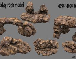 3d model low-poly rock 3 set