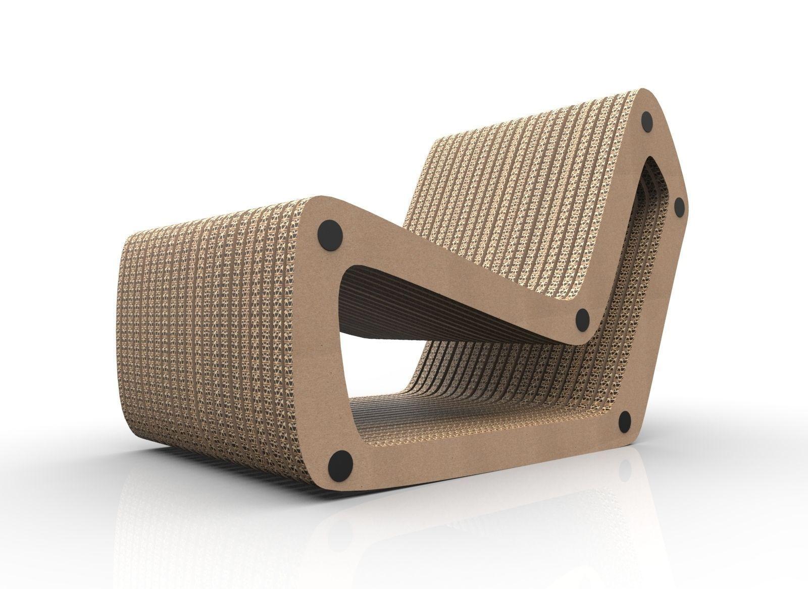 Cardboard Lounge chair 3D Model .3dm