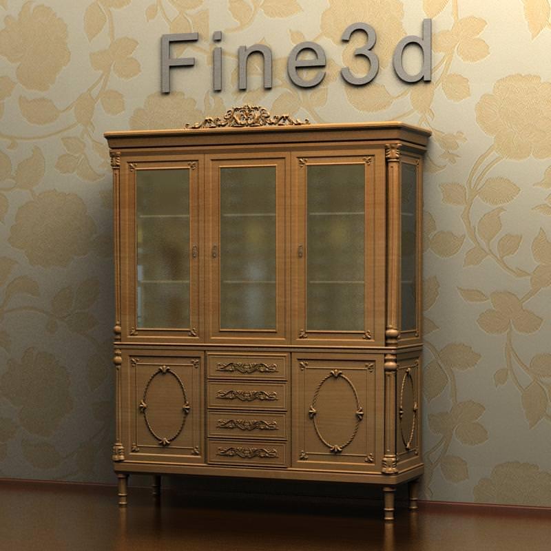 antique breakfront cabinet 08-004 3d model max obj 3ds 1 ... - Antique Breakfront Cabinet 08-004 3D CGTrader