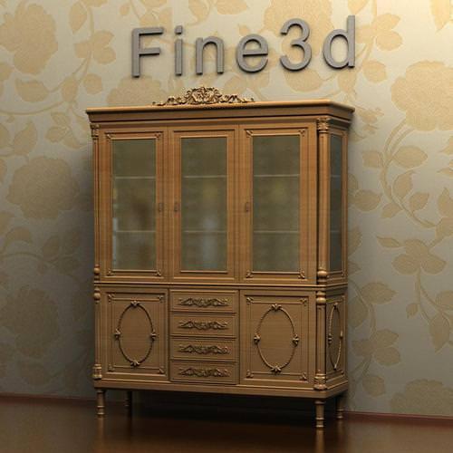 Antique Breakfront Cabinet 08-004 3D model - Antique Breakfront Cabinet 08-004 3D CGTrader