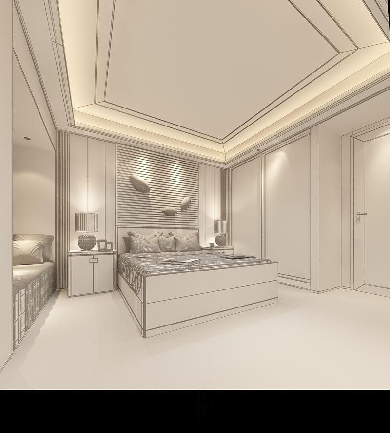 Realistic Hotel Room Design 014 3d Model Max