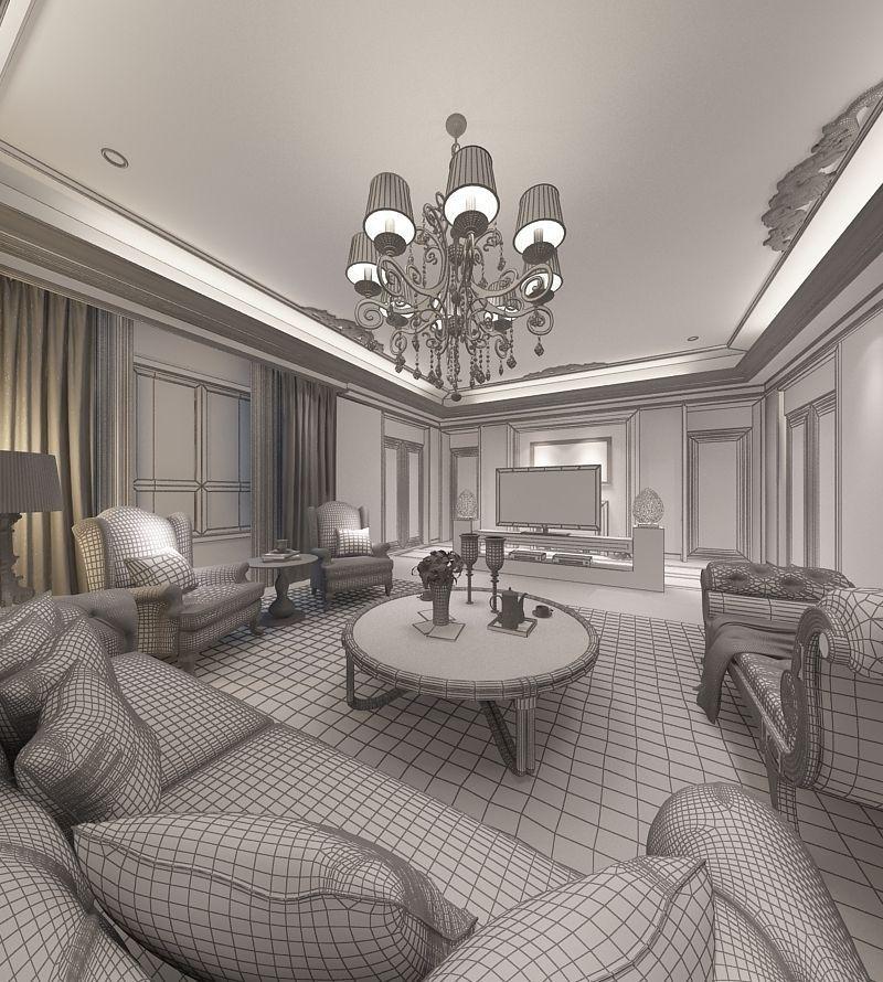 Realistic Living Room Design 057 3d Model Max