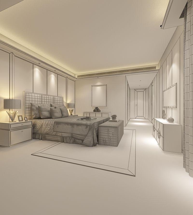 Realistic Hotel Room Design 051 3d Model Max