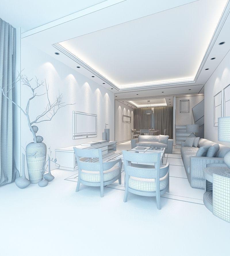 Realistic Living Room Design 053 3d Model Max