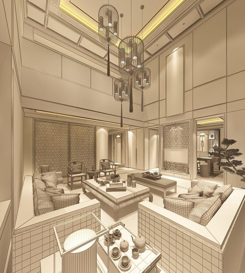 Realistic Living Room Design 037 3d Model Max