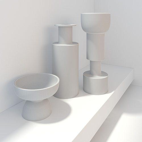 Bitossi Modern Vases Black And White Decor 3d Model Max Obj Mtl Fbx