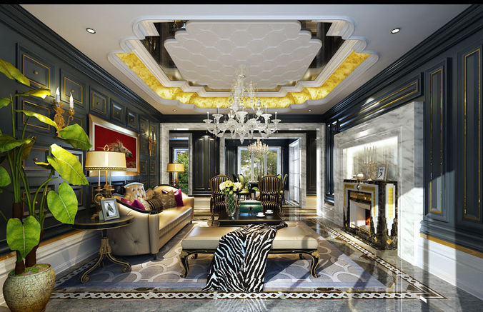 3d luxury realistic living room design cgtrader for Realistic living room ideas