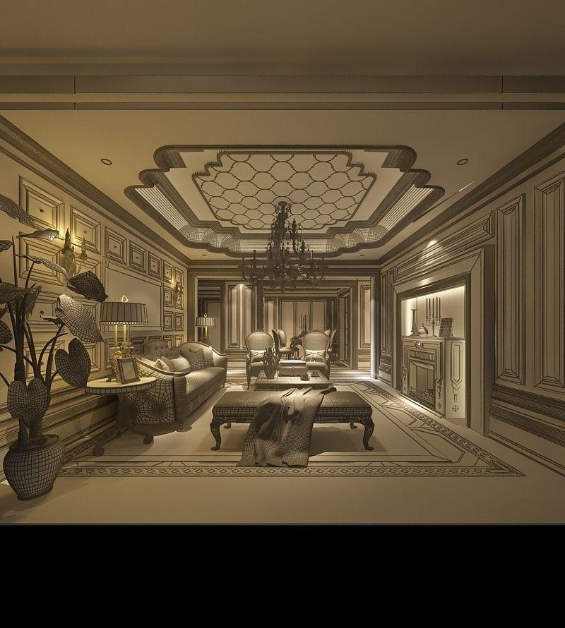 Realistic Living Room Design 033 3d Model Max