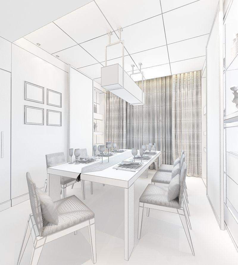 Realistic Dining Room Design 010 3d Model Max