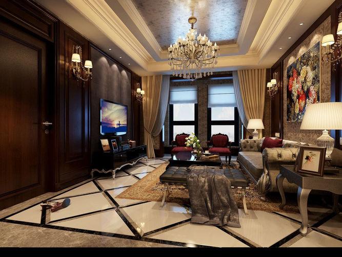 Realistic living room design 029 3d model max for Living room ideas 3d