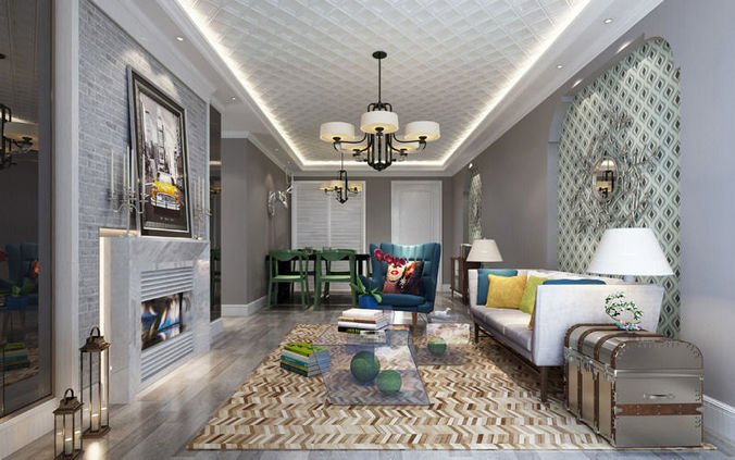 Room realistic living room design 3d cgtrader for Realistic living room ideas