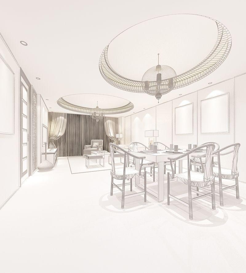 Realistic Dining Room Design 011 3d Model Max