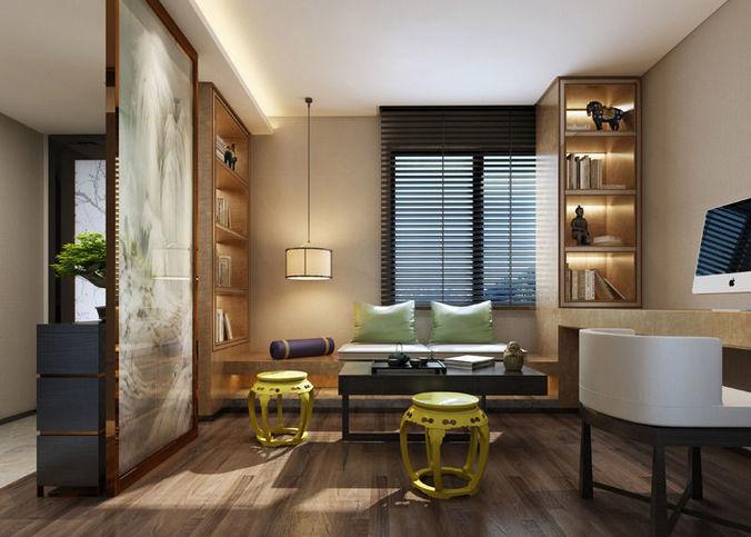 Realistic living room design 031 3d model max for Living room designs 3d model