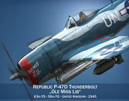 Republic P-47 Thunderbolt - Ole Miss Lib 3D Model