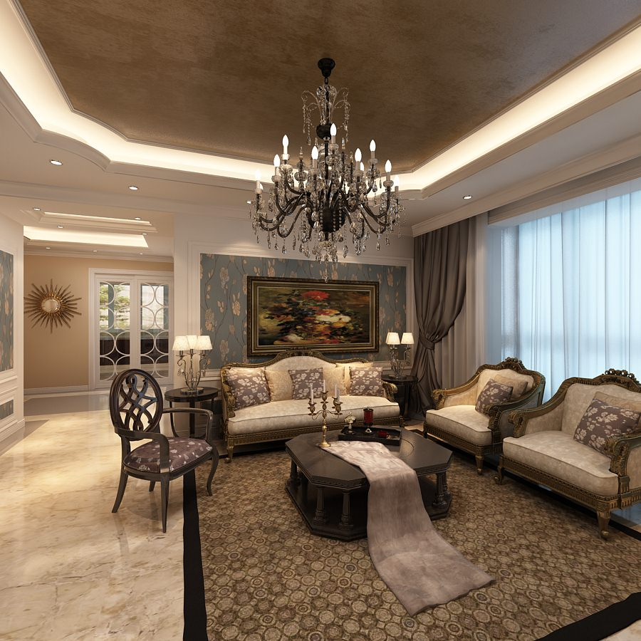 elegant living room photoreal 3d model max