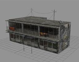 3d model low-poly arab city building - building f