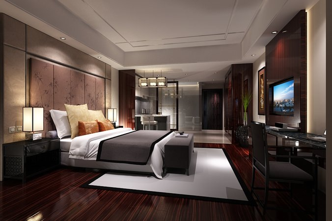 Bedroom or hotel room photoreal 3d model max for Bedroom designs 3d model