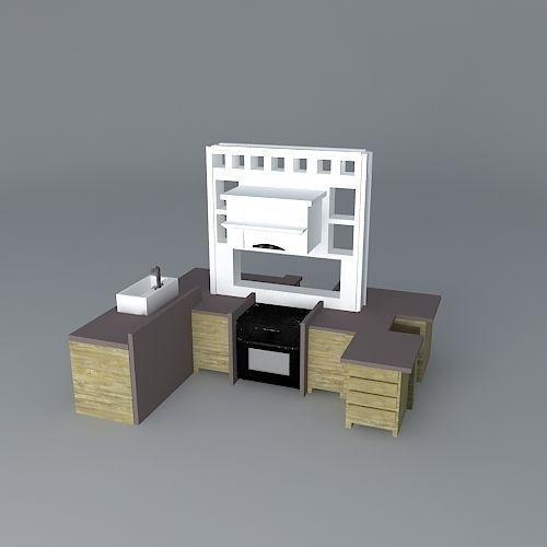 Centered island kitchen set free 3d model max obj 3ds for Kitchen set 3ds max