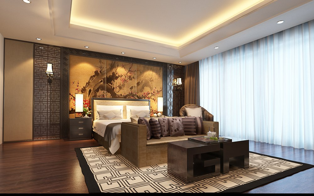 Model Bedroom bedroom asian decor 3d | cgtrader