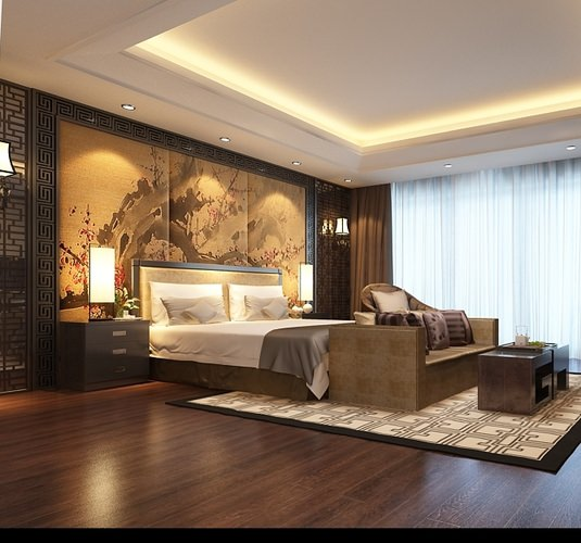 Bedroom Asian Decor 3d Model Max