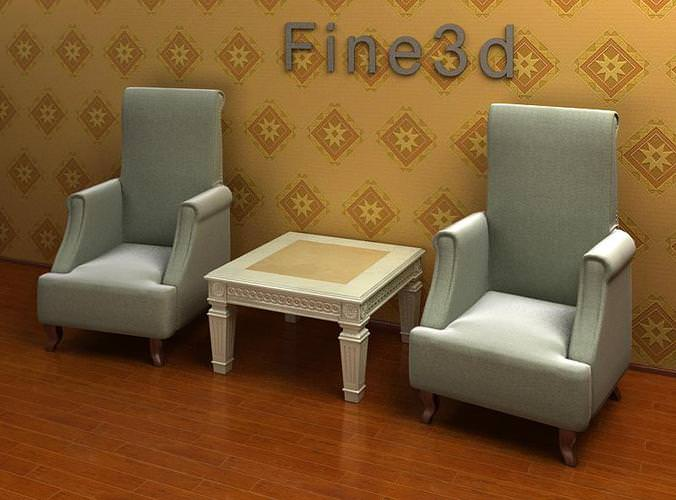 arm chairs and end table combination 3d model max obj 3ds 1