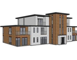 Contemporary style 9 apartment block 3D